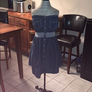 Stapless Jean Dress with Elastic Band
